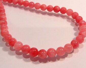 Watermelon Pink Jade Smooth Round Gemstone Beads....6mm....12 Beads