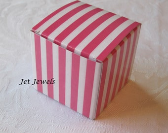 20 Gift Boxes, Jewelry Gift Box, Candy Boxes, Wedding Favor Boxes, Bridesmaid Gift Box, Pink Boxes, Small Boxes, Pink Stripes 2x2x2