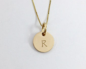 14K Solid Gold Letter Necklace - Hand Stamped - Initial Jewelry - Personalized Necklace