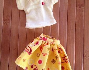 2 Piece Set Skirt & T-Shirt for Neo Blythe - Yellow