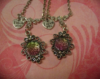 2  Pink and Green Sparkle Cabochon I Love You Necklaces Friends Sisters or Mother Daughter Gift