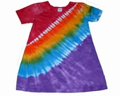 Rainbow Dress for Girls in Vibrant Rainbow Tie Dye- Tie Dye Dress- Girls Tie Dye Dress