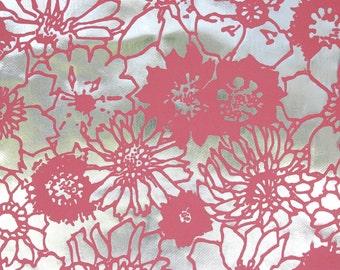 1970s Flocked Vintage Wallpaper Pink Flowers on Mylar