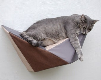 Cat shelf wall bed in brown, tan, grey and charcoal