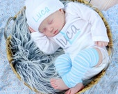 Baby Boy Coming Home Outfit Baby Boy Clothes Bodysuit Hat Newborn Leg Warmers Leggings Personalized Embroidered Baby Clothing Monogram