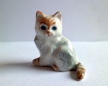 Minitures Cat Porcelain Cat Figurine,Kitty Cat Figurine,Cat Collector,Ceramic Cat figurine,Small Pet Collector Figurine. Little Tabby