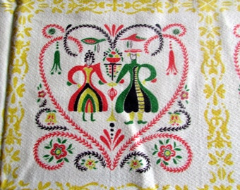 "vtg valentines  Pennsylvania Dutch heart and fruit tablecloth 50X61"" oblong"