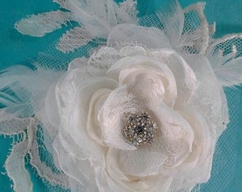 Bridal Hair rose, Ivory Lace, Organza Feather Rose Hair Clip A011 - bridal wedding hair accessory