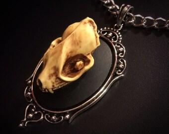 Bat Necklace // Bat Skull Necklace // Replica // Bat Cameo // Bat Jewelry // Taxidermy Jewelry // Gothic Necklace