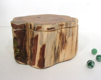 Pacific Yew Tree Trunk Box, small cremation urn, pet urn, wooden jewelry box, 5th wedding anniversary, retirement gift