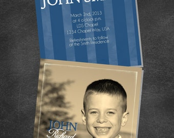 LDS Baptism Boy Invitation Announcement (printable digital file)