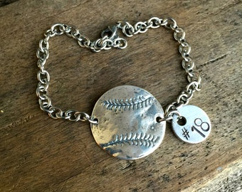 Baseball - Softball Bracelet Sterling Silver Charm With Number or Initial Baseball Mom