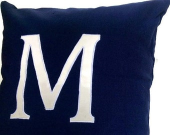 Sale Monogrammed Pillows 16 inches Navy Alphabet- big letter cushions- Navy Blue Custom made Decorative Throw Pillow