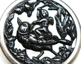 "LG Antique BUTTON, Victorian Cupid Riding a BIRD, 1.13""."