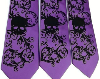 Mens purple violet skull tie sale ready to ship