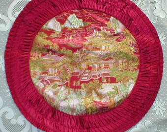 Pillow Cover Chinese Silk Brocade Embroidered Pleated edge Red Throw Pillow Cover Vintage