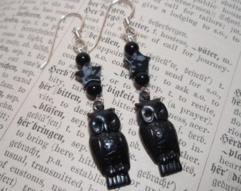 Black Star Owls - Snowflake Obsidian and Onyx Gemstone Beaded Dangle Earrings Sterling Silver