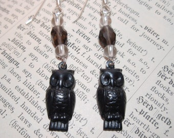 Black Owls - Smokey Quartz and Clear Quartz Crystal Gemstone Beaded Dangle Earrings Sterling Silver