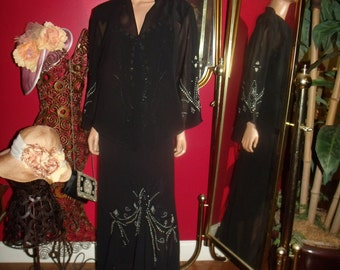 G Gatsby Black 2-pc  Dress Flapper jacket  Exclusive Embroidery 20 Theme Size 18