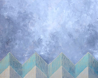 Original Abstract Acrylic Painting Chevron Green Gray