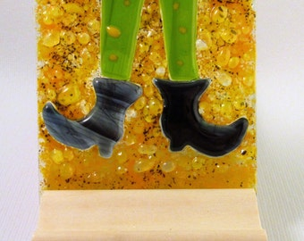 Fused Glass Whimsical Witch Halloween Candle Holder