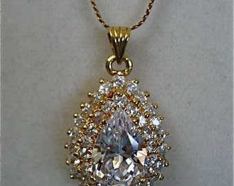 Vintage Diamond Pendant Necklace