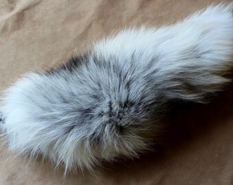 Fox tail - real eco-friendly Golden Island fox fur totem dance tail on braided belt loop for shamanic ritual and dance GI02