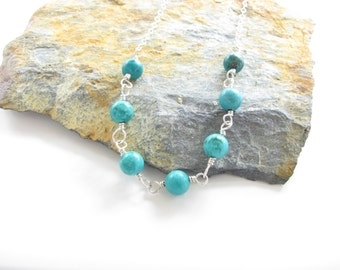 Gemstone Necklace - Sterling Silver and Beautiful Stabilized Turquoise Gemstone Beads on a Sterling Chain - Ready to Ship - Hand Crafted