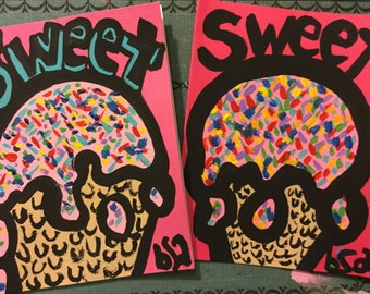 Set of two hand painted Sweet notecards
