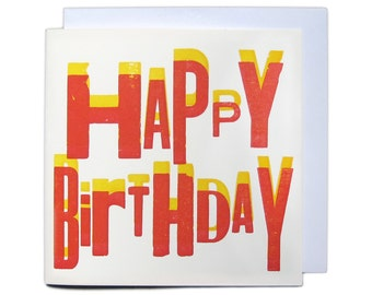 Letterpress Overprint Greetings Card - Happy Birthday Red & Yellow