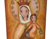 Our Lady of Mount Carmel - Original Mixed Media Painting on Wood by FLOR LARIOS (8 x 10 Inches)
