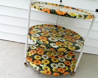 Vintage 1960s porch side table - bright florals - Marsh Allen