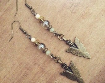 GYPSY HUNTER brass wirework spiral dangle spear earrings