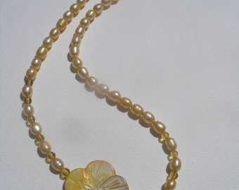 Vintage Freshwater Golden Yellow Pearl Carved MOP Flower Necklace Sterling