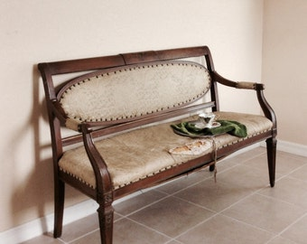 Antique 1900s Solid Wood Salon Sofa Settee