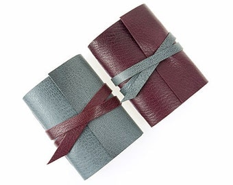 Mini Journal: Maroon & Gray hand made little notebook or sketchbook Father's Day or little birthday gift. Made in England, ships worldwide