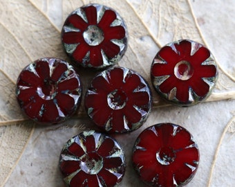 CHERRY BLOOMS .. NEW 6 Picasso Glass Czech Chunky Beads 13x5mm (4806-6)