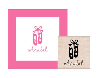 Ballet Slippers Personalized Rubber Stamp