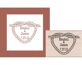 Rope Heart Tie the Knot Save the Date Personalized Rubber Stamp