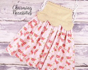 Toddler Girl Clothes, Baby Girl Outfit, Girls Spring Summer Dress, Retro Scalloped Sun Dress in Enchanted Posies by Charming Necessities