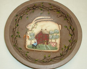 Primitive Bunny Rabbit Wooden Bowl - Hand Painted