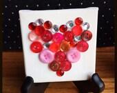 Mini Button Collage Red Heart Art Silhouette