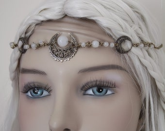 "Circlet Diadem ""Lunae"" Priestress of the Moon Pagan Jasper"