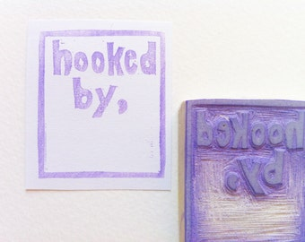 hooked by stamp, label making stamp, custom rubber stamp, personalized stamp