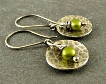Earrings Sterling Silver Disc Freshwater Pearl