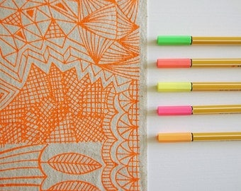 Tangle - screenprinted fabric - neon colours