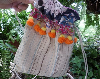 Hippie Backpack, Hippie Back Pack, hippie back sack, festival bag, boho back pack, drawstring back pack,  recycled fabric, small, C29,  hobo