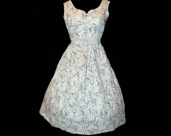 Vintage 50s teal aqua feather swirl novelty print day dress L XL