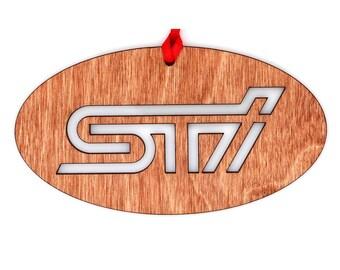 Wooden Subaru STI Ornament