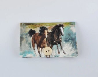 Fabric Business Card Holder Horse Horses
